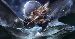 1girl alcd blonde_hair dragonfly dual_wielding flower full_moon highres horns katana lily_pad long_hair lotus moon pixiv_fantasia pixiv_fantasia_t solo sword weapon
