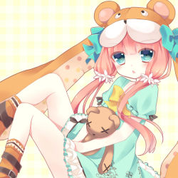 1girl animal_hat blue_eyes casual doll_hug emil_chronicle_online hair_ornament hat highres hoshi_(snacherubi) long_hair looking_at_viewer low_twintails red_hair solo stuffed_animal stuffed_toy teddy_bear triangle_mouth twintails