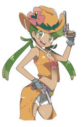 1girl :d armpit_peek bare_shoulders belt blush_stickers bra breasts chaps cleavage cowboy_hat dark_skin denim denim_shorts dual_wielding fingerless_gloves flower_ornament from_side gloves green_eyes green_hair gun handgun hat hat_tip itamochi jacket looking_at_viewer mao_(pokemon) midriff navel open_clothes open_jacket open_mouth pink_bra pokemon pokemon_(game) pokemon_sm revolver shorts simple_background sleeveless smile solo twintails underwear weapon western white_background