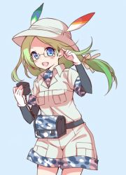 1girl black-framed_eyewear blue_background blue_eyes blush breast_pocket bucket_hat collar cowboy_shot dot_nose eyebrows_visible_through_hair glasses gloves green_hair hair_ornament hair_ribbon hat hat_feather kawanobe kemono_friends long_hair looking_at_viewer mirai_(kemono_friends) open_mouth pink_ribbon pocket ribbon safari_jacket semi-rimless_glasses short_over_long_sleeves simple_background smile solo teeth under-rim_glasses upper_teeth white_gloves white_hat wind