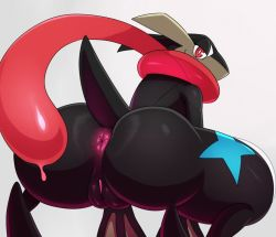 anus ass blue eric_lowery frog gradient_background greninja long_tongue nintendo no_humans pokemon pokemon_(game) pokemon_xy pussy red saliva scarf shiny solo squat star webbed_hands