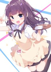 1girl apron badge black_legwear chikuwa. cup drinking_glass jumping long_hair midair napkin open_mouth purple_eyes purple_hair skirt solo thighhighs tray tsurime v waitress working!! yamada_aoi