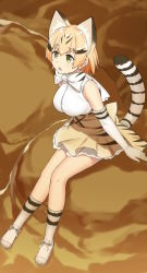 1girl animal_ears bangs bare_shoulders black_hair blonde_hair bow bowtie breasts cat_ears cat_tail cccpo elbow_gloves eyebrows_visible_through_hair full_body gloves green_eyes kemono_friends large_breasts looking_away multicolored_hair petticoat sand_cat_(kemono_friends) shirt shoes short_hair sitting skirt sleeveless socks solo streaked_hair tail white_bow white_bowtie white_gloves white_shirt yellow_skirt