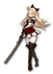 1girl ahoge blonde_hair blue_eyes boots bow bravely_default:_flying_fairy brown_boots brown_legwear edea_lee gloves hair_bow highres junwool katana long_hair looking_at_viewer pantyhose simple_background sketch smile solo sword thigh_boots thighhighs weapon white_background white_legwear