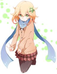 1girl :> abstract_background bafarin black_legwear blonde_hair blue_scarf blush buttons cardigan chisaki_tapris_sugarbell dot_nose double_v eyebrows_visible_through_hair flower full_body gabriel_dropout green_eyes hair_between_eyes hair_flower hair_ornament highres jumping legs_together light_smile long_sleeves looking_at_viewer namori_(style) neck_ribbon pantyhose plaid plaid_skirt pleated_skirt ribbon scarf school_uniform shiny shiny_clothes shiny_hair shiny_skin short_hair simple_background skirt solo tareme v wavy_hair white_background