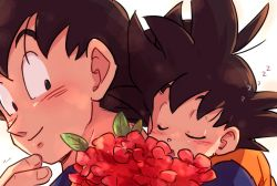 2boys black_eyes black_hair child dougi dragon_ball dragonball_z eyes_closed father_and_son flower looking_at_another male_focus multiple_boys simple_background sleeping sleeping_on_person smile son_gokuu son_goten spiked_hair tkgsize white_background zzz