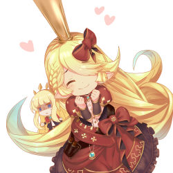 2girls :3 ^_^ aqua_hair bangs blonde_hair blue_eyes blunt_bangs blush bow braid cagliostro_(granblue_fantasy) charlotta_(granblue_fantasy) chibi_inset clenched_hands closed_mouth dress eyebrows_visible_through_hair eyes_closed gloom_(expression) gradient_hair granblue_fantasy hair_bow hair_over_one_eye harbin headband heart jewelry jitome lowres multicolored_hair multiple_girls o_(rakkasei) pendant pointy_ears puffy_short_sleeves puffy_sleeves red_bow shaded_face short_sleeves sweatdrop swept_bangs triangle_mouth white_background