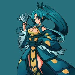 1girl bare_shoulders blue_hair borokuro breasts cleavage dress facial_mark fan forehead_mark gyarados hair_ornament long_hair paper_fan personification pokemon ponytail red_eyes simple_background solo