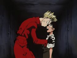 2boys angry animated animated_gif black_hair blonde_hair multiple_boys trigun vash_the_stampede violence