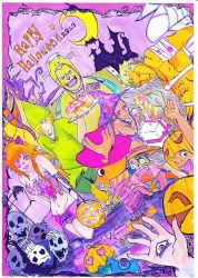 2013 2girls 6+boys afro animal_ears bandage black_hair blonde_hair brook cat_ears costume cresent dark_skin frankenstein's_monster franky green_hair halloween halloween_costume long_hair monkey_d_luffy moon multiple_boys multiple_girls nami nico_robin one-eyed one_piece orange_hair pumpkin roronoa_zoro rubber sanji skull stitching stretch topless usopp witch_hat zombie
