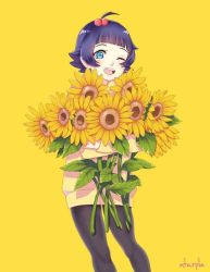 1girl ahoge atarple bangs blue_eyes facial_mark flower hair_ornament leggings long_sleeves looking_at_viewer md5_mismatch naruto pantyhose purple_hair resized simple_background smile solo sunflower uzumaki_himawari