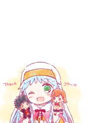 blue_hair character_doll green_eyes habit index kamijou_touma long_hair misaka_mikoto nae_(rno) nun one_eye_closed to_aru_majutsu_no_index