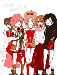 5girls aerith_gainsborough final_fantasy gift hearts lightning_farron looking_at_viewer multiple_girls oekaki tifa_lockhart tina_branford valentine yuna