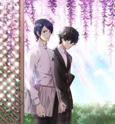 2boys black_hair blazer bloom blue_hair flower gakuran glasses hand_holding jacket kitagawa_yuusuke kurusu_akira male_focus mina_(o414) multiple_boys persona persona_5 school_uniform