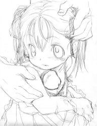 blush chinjob cum hair_ribbon loli massiro monochrome penis sketch toddlercon twintails