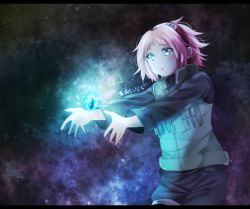 1girl crystal dark_background flak_jacket forehead_mark glowing green_eyes haruno_sakura naruto naruto_shippuuden pink_hair sasucchi short_hair solo