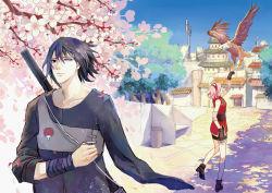 1boy 1girl amputee bird black_hair cherry_blossoms haruno_sakura hawk highres long_hair meng1132 naruto pink_hair short_hair uchiha_sasuke