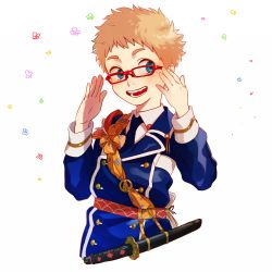 1boy :d blonde_hair blue_eyes blush double-breasted fang flower glasses hakata_toushirou looking_to_the_side male_focus military military_uniform open_mouth red-framed_eyewear smile tantou touken_ranbu uniform upper_body