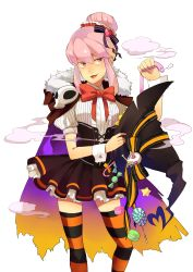 1girl candy cape female halloween jakuzure_nonon kill_la_kill pink_hair ribbon skirt skull solo thighhighs transparent_background witch_hat