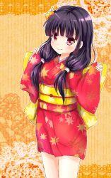 black_hair girlfriend_(kari) hair_ornament highres japanese_clothes keiko. kimono long_hair morizono_mei purple_eyes smile twintails yukata