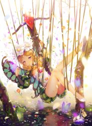 1girl alcohol blonde_hair bow_(weapon) braid butterfly_wings crossbow dangmill fairy flower frog hair_ornament hat_feather highres ingway_(odin_sphere) long_hair mercedes odin_sphere pointy_ears puffy_sleeves red_eyes solo twin_braids weapon wine wings