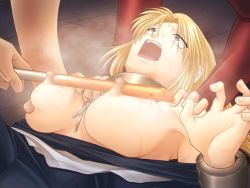 1girl areolae bdsm blonde_hair breast_torture breasts collar cross guro large_breasts long_hair male_hand nipple_torture nipples nun pain restrained saliva screaming slave sweat tagme torture