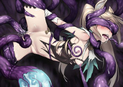 1girl anal animal_ears blonde_hair bottomless breast_squeeze breasts cum double_penetration futanari granblue_fantasy h_kasei long_hair metella_(granblue_fantasy) nipples restrained sex solo spread_legs tentacle tentaclejob torn_clothes vaginal
