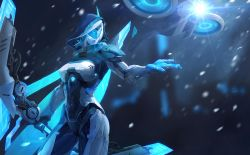 1girl ashe_(league_of_legends) blurry bodysuit bow_(weapon) closed_mouth contrapposto covered_navel cowboy_shot cyborg depth_of_field drone flying glowing highres holding holding_weapon hood ice league_of_legends legs_apart lens_flare light looking_to_the_side motion_blur mu_ye_jin mu_ye_jun outstretched_arm outstretched_hand power_armor project:_ashe snowing solo spaulders standing visor weapon white_hair