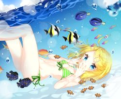 1girl air_bubble bikini blonde_hair breath bubble covering_mouth fish freediving hair_ornament hairclip holding_breath jimmy kagamine_rin swimming swimsuit underwater vocaloid