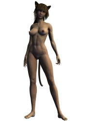 3d animal_ears breasts nude simple_background tail