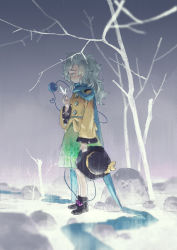 1girl adapted_costume blue_eyes bow floral_print hat hat_bow hat_removed headwear_removed heart heart_of_string komeiji_koishi long_sleeves rock scarf seeker shirt silver_hair skirt snow solo third_eye touhou tree wide_sleeves winter