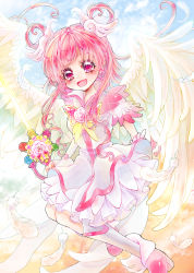 1girl :d aki_(na_uup) angel_wings boots brooch cure_dream cure_fleuret earrings energy_sword feathers flower full_body hair_rings highres holding holding_sword holding_weapon jewelry knee_boots lightsaber long_hair looking_at_viewer magical_girl open_mouth pink_eyes pink_hair pink_rose precure rose shining_dream skirt smile solo sword weapon white_boots white_skirt white_wings wings yes!_precure_5 yumehara_nozomi