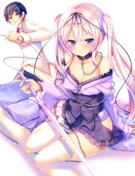 1boy 1girl :< ayuma_sayu bangs bare_shoulders black_ribbon black_skirt blazer blush collar collared_shirt cover cover_page eyebrows_visible_through_hair hair_ribbon half-closed_eyes holding holding_leash holding_sword holding_weapon jacket japanese_clothes kimono kimono_pull kimono_skirt leash maryoku_zero_no_ore_ni_wa_mahou_kenki_saikyou_no_gakuen_wo_shihai_dekinai..._to_omotta? necktie novel_cover official_art parted_lips pink_hair purple_eyes purple_kimono rapier red_eyes red_necktie ribbon sash school_uniform shirt sitting skirt smile solo_focus sword thighhighs torn_clothes torn_thighhighs twintails wariza weapon white_legwear white_shirt