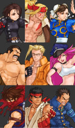 3girls 6+boys 90s ;) abs alex_(street_fighter) armband artist_request asymmetrical_bangs bangs belt biker_clothes blonde_hair blue_eyes bomber_jacket breasts brown_eyes brown_hair capcom capcom_fighting_jam charlie_nash china_dress chinese_clothes choker chun-li concept_art covered_mouth dog_tags dougi dress eyebrows facial_hair final_fight gakuran glasses hair_slicked_back hat headband highres ichimonji_batsu jacket justice_gakuen kazama_akira leather leather_jacket lipstick long_hair makeup medium_breasts mike_haggar multiple_boys multiple_girls muscle mustache ninja official_art one_eye_closed open_clothes open_vest peaked_cap pink_hair poison_(final_fight) portrait puffy_short_sleeves puffy_sleeves ryuu_(street_fighter) scar scarf school_uniform shirtless short_hair short_sleeves single_strap small_breasts smile spikes street_fighter street_fighter_iii street_fighter_zero strider_(video_game) strider_hiryuu thick_eyebrows vest watermark