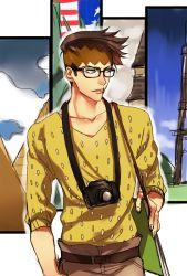 1boy bespectacled brown_hair camera earrings glasses headband highres jewelry jojo_no_kimyou_na_bouken kishibe_rohan samuraisamurai sketchbook solo