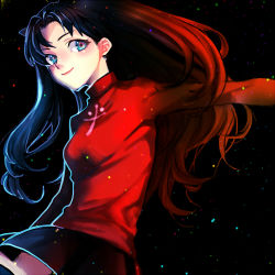 1girl black_hair blue_eyes fate/stay_night fate_(series) jojo_no_kimyou_na_bouken lowres motakokun solo tohsaka_rin two_side_up