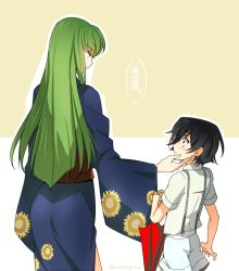 1boy 1girl age_difference black_hair blush c.c. code_geass creayus floral_print grey_hair hand_on_another's_face height_difference japanese_clothes kimono lelouch_lamperouge long_hair long_sleeves outline purple_eyes shiny shiny_hair short_hair short_sleeves shorts suspenders translation_request twitter_username umbrella wide_sleeves yellow_eyes younger