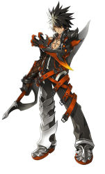 1boy armor belt black_hair blackjd83 claws elsword gloves jewelry male_focus multicolored_hair necklace pants raven_(elsword) reverse_grip serious shirt shoes solo spiked_hair standing streaked_hair sword two-tone_hair weapon white_background white_hair yellow_eyes