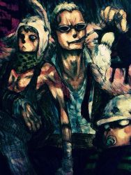 animal_hat donquixote_doflamingo hat one_piece sunglasses trafalgar_law yanio_(yo-1221) younger