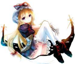 1girl basilis9 blonde_hair dress gap gloves hat long_hair purple_eyes ribbon sketch solo thighhighs touhou yakumo_yukari