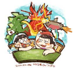2boys bathhouse brown_hair dated flag hatabou heart heart_in_mouth kuri_(shibimame) matsuno_osomatsu multiple_boys osomatsu-kun osomatsu-san rubber_duck smile towel towel_on_head