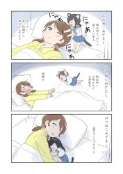 4girls animal_ears bangs bed black_hair blue_skirt blunt_bangs brown_eyes brown_hair cat_ears cat_tail commentary_request fubuki_(kantai_collection) hatsuyuki_(kantai_collection) jumping kantai_collection kemonomimi_mode long_hair low_twintails miyuki_(kantai_collection) multiple_girls pajamas pleated_skirt school_uniform serafuku shimazaki_kazumi shirayuki_(kantai_collection) short_hair short_ponytail skirt sleeping tail translation_request twintails whiskers