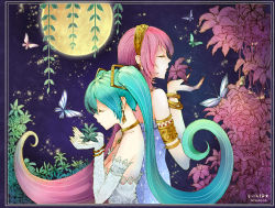 2014 2girls aqua_hair armlet artist_name bare_shoulders bracelet breasts butterfly cleavage earrings elbow_gloves flower funkid gloves hairband hatsune_miku highres jewelry long_hair megurine_luka moon multiple_girls pink_hair small_breasts vocaloid