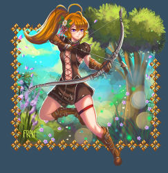 1girl arrow blue_sky boots bow_(weapon) bracer brown_boots brown_gloves brown_hair brown_shorts cross-laced_clothes drawing_bow flower full_body gloves hair_flower hair_ornament lanfanarts legband long_hair midriff navel outdoors ponytail purple_eyes shorts signature sky solo tree tree_of_savior weapon