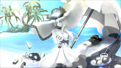 1girl beach black_gloves blue_eyes blue_sky breasts cleavage cloud commentary_request dress flower gloves hair_over_one_eye hat hat_flower highres kantai_collection kouji_(astral_reverie) large_breasts long_hair looking_at_viewer ocean outdoors palm_tree parasol sand seaport_summer_hime shinkaisei-kan sky solo sun_hat sundress tree umbrella water white_dress white_hair white_hat white_skin