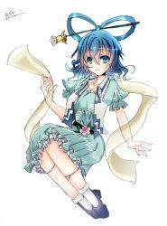 1girl blue_eyes blue_hair hair_ornament hair_stick kaku_seiga sakayaki_yuuya sash shawl solo touhou white_background