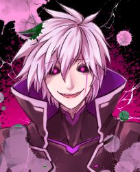 1boy add_(elsword) black_sclera elsword facial_mark male popped_collar porupu purple_background purple_eyes smile solo tattoo white_hair
