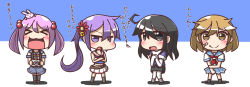 >:) >:o >_< 4girls :3 :d :o ahoge akebono_(kantai_collection) alternate_costume aoba_(kantai_collection) aoba_(kantai_collection)_(cosplay) black_eyes black_hair brown_eyes brown_hair bunny c: camera chibi cosplay feiton furutaka_(kantai_collection) furutaka_(kantai_collection)_(cosplay) haguro_(kantai_collection) haguro_(kantai_collection)_(cosplay) hair_bobbles hair_ornament highres holding kantai_collection long_hair maya_(kantai_collection) maya_(kantai_collection)_(cosplay) multiple_girls navel oboro_(kantai_collection) open_mouth pink_hair pleated_skirt purple_eyes purple_hair sazanami_(kantai_collection) school_uniform serafuku short_hair shorts side_ponytail skirt smile translation_request twintails ushio_(kantai_collection) x3 xd