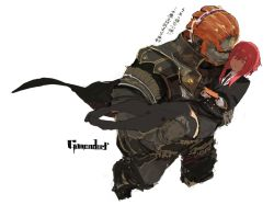 1boy 1girl cape carrying ganondorf hms_orion_(siirakannu) necktie nintendo_3ds orange_hair princess_carry red_hair skirt super_smash_bros. the_legend_of_zelda thighhighs twilight_princess very_dark_skin zettai_ryouiki