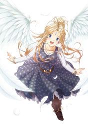1girl :d aa_megami-sama antenna_hair belldandy blue_eyes brown_hair earring facial_mark forehead_mark goddess wings